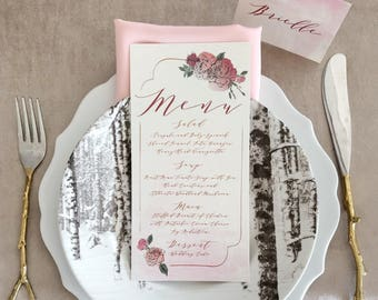 4x8 Rose Gold Calligraphy Watercolor Floral Wedding Menu in Blush Pink, Red & Burgundy