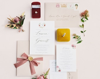 Gold Foil Wedding Invitation with Burgundy and Blush Floral Monogram Wreath with Ribbon, Envelope Liner, and Guest Addressing - Other Colors