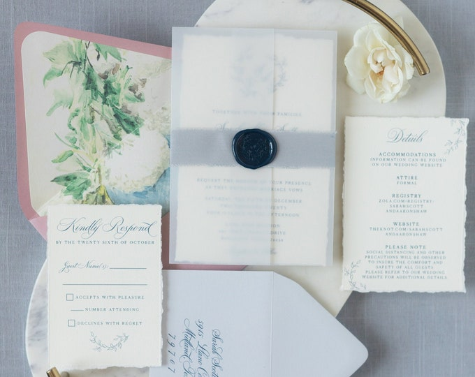 Vellum Wrapped Invitation with Grey Linen Ribbon and Navy Wax Seal featuring Greenery Monogram Wreath and Envelope Liner —Other Colors!
