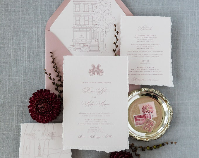 Ornate Initial Monogram Wedding Invitation with Sketch Style Venue Illustration and Map of New York on Pale Pink with Liner & Addressing