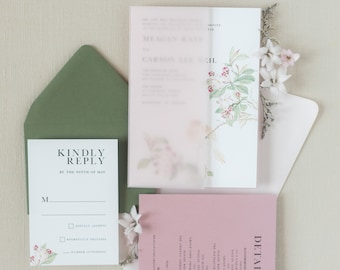 Simple Sans Serif Wedding Invitation with Soft Floral Branch and Bird in Dusty Rose and Green with Vellum Wrap — Different Colors!