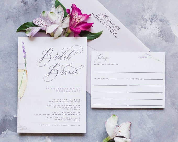 Champagne Lavender Bridal Brunch Shower Invitation with Recipe Card and Envelope in Purple