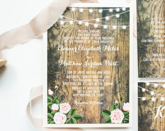 Rustic Pink Blush Roses Country Barn Wood Invitation with Cafe String Lights in Pink with Belly Band and Monogram