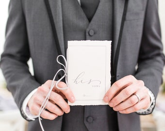 His and Her Wedding Vow Books with Velvet Ribbon and Deckled Edges in Delicate Line Drawn, Calligraphy in Neutrals Grey, Ivory and Pale Pink