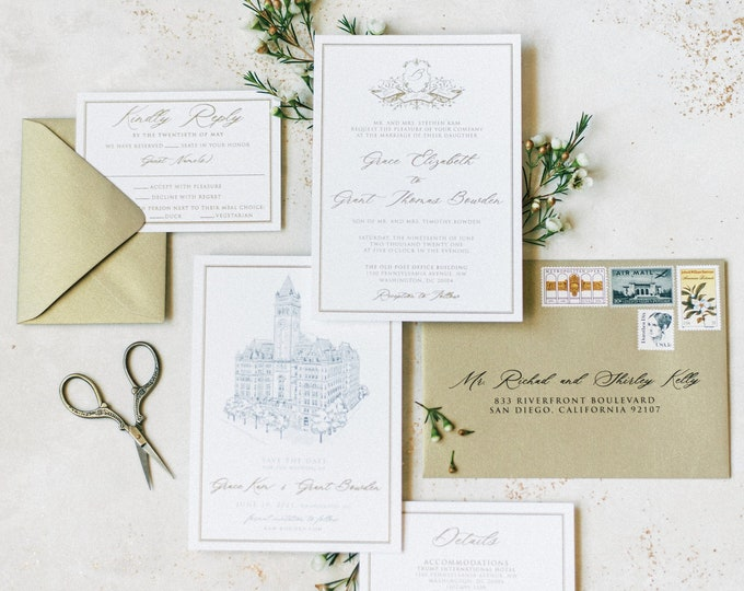 Formal & Traditional Wedding Invitation with Monogram Crest in Metallic Gold Thermography, White and Grey  —Other Colors Available!