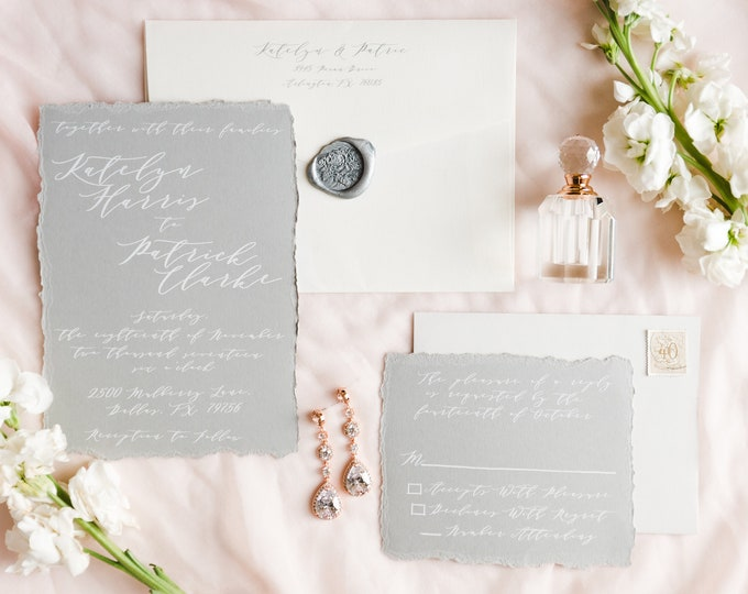 Torn Edges, Minimal Modern Calligraphy on Gray Paper with White Ink, Neutral Wedding Invitation in Grey, Envelope Liner & Guest Printing