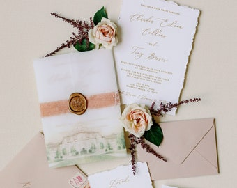 Custom Water Color Illustration of Wedding Venue on Vellum Wrap with Torn Edges, Calligraphy, Velvet and Wax Seal - Other Colors Available