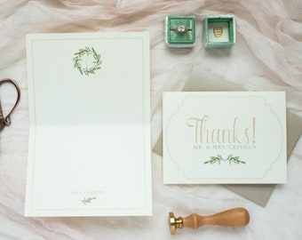 Folding Wedding Thank You Cards Program with Greenery Leaves Wreath Monogram in Blush and Ivory
