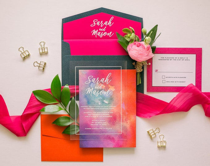 Modern White Ink Wedding Invitation on Crystal Clear Film Transparent Like Acrylic with Bright Colorful Water Color —  Liner & Addressing