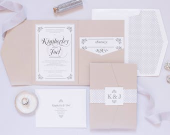 5x7 Metallic Beige and Silver Pocket Wedding Invitation with Envelope Liner, Enclosure Band & Monogram with Details Insert and Mad-Lib RSVP