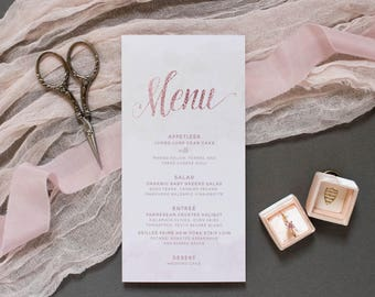 Subtle Water Color Wedding Menu in Blush Pink, Rose Gold and Mint, Printed Menu - Different Colors Available!