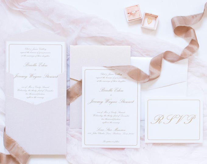 Simple Formal Classic Traditional Blush Pink, Rose Gold Pocket Wedding Invitation. Different Colors Options Available.