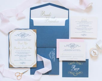 Navy Blue & Gold Glitter Die Cut Vintage Wedding Invitation, Blush Pink Envelope and Return Address Printing. Different Colors Available!