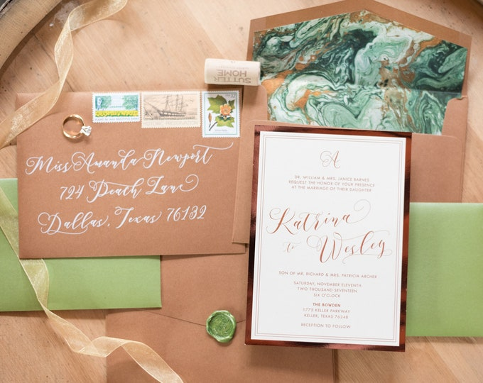 Shades of Green & Copper Marbled Invite, Rose Gold and Ivory Wedding Invitation — Includes Envelope Liner, RSVP and Address Printing