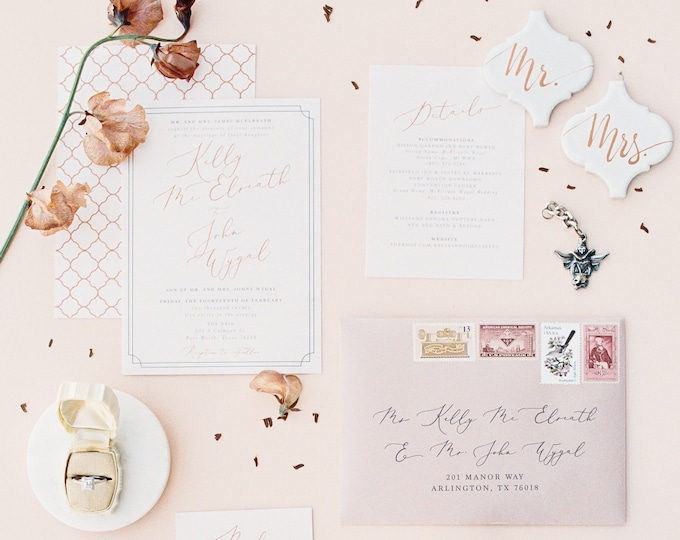 Blush & Copper Wedding Invitation with Double Frame, Geometric Pattern, Calligraphy Script with Guest Addressing and Details — Other Colors!