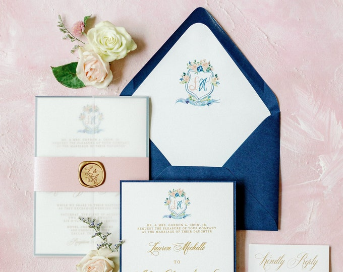 Custom Floral Water Color Monogram Crest in Navy Blue, Blush & Gold Thermography with Envelope Liner and Guest Addressing —Other Colors!