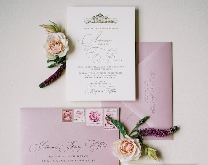 Modern + Simple Wedding Invitation with Custom Venue Sketch Illustration in Gold Foil and Blush Blush Pink - Other Colors Available!