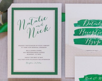 Emerald Green and Champagne Gold Water Color Brush Stroke Pocket Wedding Invitation with Multiple Layers & Inserts, Different Colors