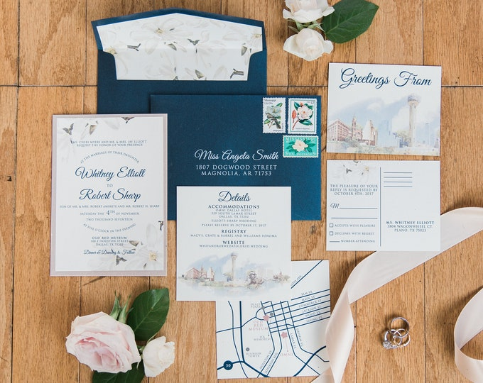 Dallas Skyline Themed Wedding Invitation in Navy Blue & Blush Rose Pink, Water Color Magnolias Illustration with Custom Map, RSVP, Details