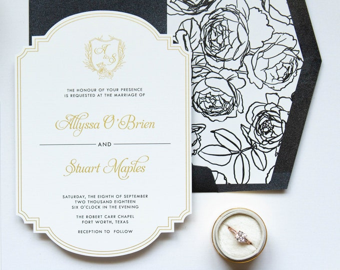 Formal Die Cut Metallic Gold and Black on White Linen with Monogram Crest Roses Wedding Invitation Rose Envelope Liner & Address Printing