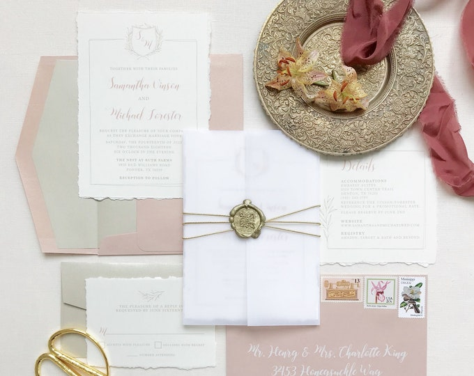 CUSTOM ORDER Calligraphy Monogram Crest in Gold, Ivory and Blush Pink Modern Wedding Invitation - Envelope Liner, RSVP & Address Printing