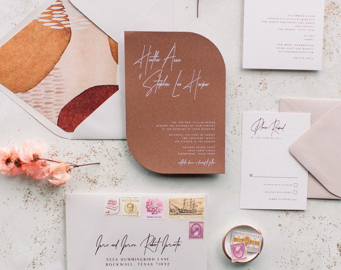 Modern Die Cut Shape Wedding Invitation with White Ink, Abstract Design in Sepia, Terra-Cotta, Taupe, Peachy Pink and Earth Tones