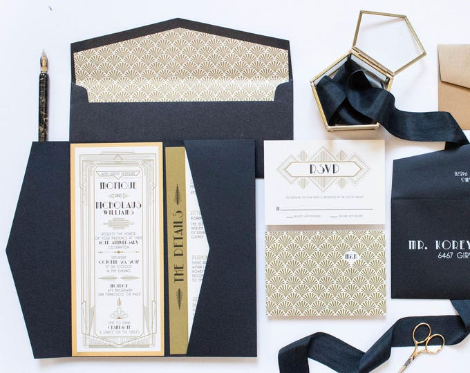 4x9 OR 5x7 Pocket Art Deco Great Gatsby Themed Gold and Black Wedding Invitation, Envelope, Details & RSVP