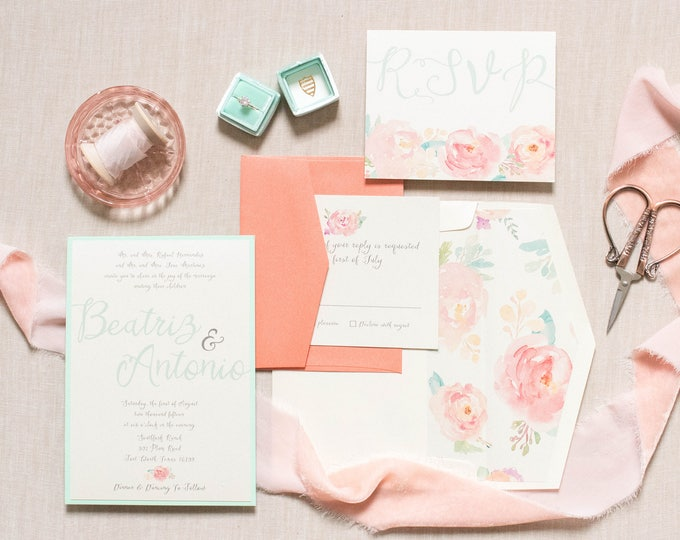 Boho Summer Water Color Floral Flowers Invitation in Mint and Coral with RSVP & Envelope Liner —Different Colors Available.
