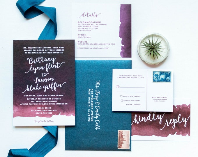 Burgundy, Sangria, Wine, Marsala and Navy Blue Water Color Wedding Invitation Suite with RSVP & Envelope - Other Color Options Available