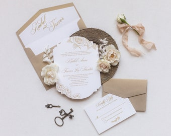 Elegant Die Cut Wedding Invitation in Bold and White with Vintage Floral and Gold Envelopes with Guest Addressing — Other Color Options!