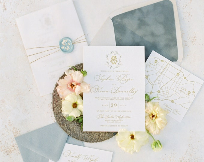Wedding Invitation in Vellum, Cord and Wax Seal with Gold Foil Flakes, Custom Monogram, Velvet Envelope Liner & Thermography —Other Colors