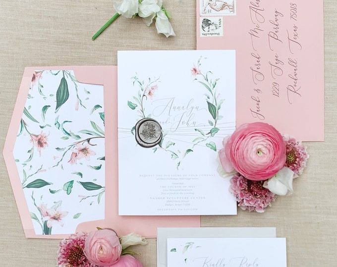 Blush Floral & Greenery Leaves Wedding Invitation with Moder Calligraphy and Envelope Addressing - Other Colors