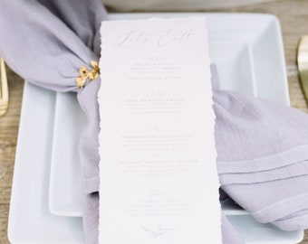 Deckled Edges, Torn Edges, Grey Delicate Hand Drawn Floral, Greenery Leaves with Calligraphy Script Modern Printed Wedding Menu