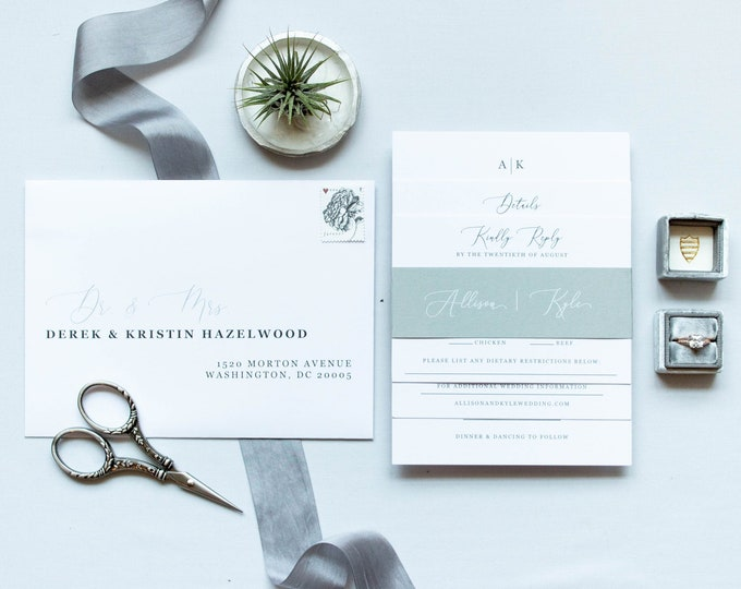 Minimal Modern Simple Monogram in Grey, Black & White Wedding Calligraphy Block Invitation Calligraphy Belly Band - Other Colors Available