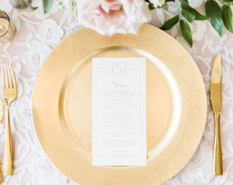 Classic Monogram Crest Wedding Menu in Blush Pink & Gold with Modern Calligraphy Script —Available in Other Colors!