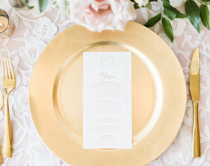 Classic Monogram Crest Wedding Menu in Blush Pink & Gold with Modern Calligraphy Script — Available in Other Colors!