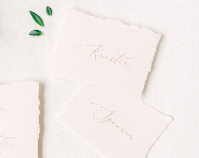Pale Pink Wedding Place Cards with Ripped Edges, Delicate Calligraphy Script, Printed Guest Names — Other Colors Available