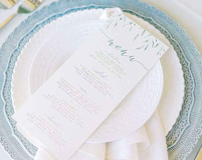 Greenery Leaves Wedding Menu for Place Setting in Green and Grey with Calligraphy — Different Colors Available!