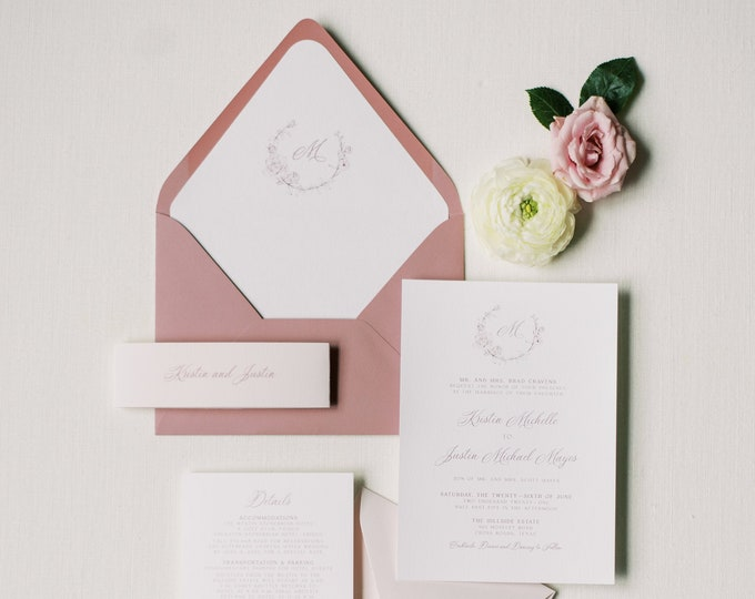Blush, Rose and Pale Pink Wedding Invitation with Rose Wreath Monogram, Envelope Liner + Guest Address Printing — Other Color Options!