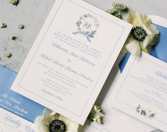 Custom Floral Monogram Wreath in Ivory and Blue with Couple's Initials, Flower Details, Envelope Liner & Inserts — Different Colors!