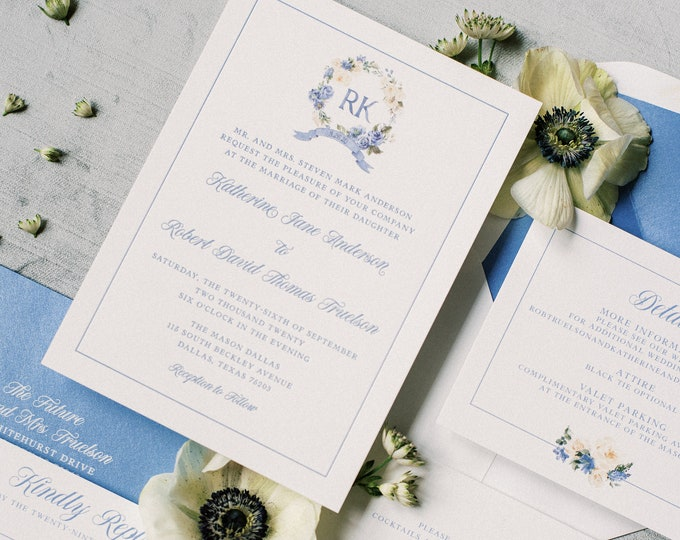 Custom Floral Monogram Wreath in Ivory and Blue with Couple's Initials, Flower Details, Envelope Liner & Inserts —Different Colors!