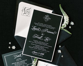 Classic & Modern Black and White Wedding Invitation with Simple Monogram and Formal Script - Different Color Options!