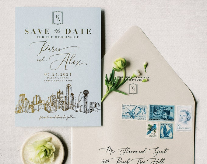 Gold Foil Save the Date with Custom Dallas Skyline Sketch Illustration + Envelope and Guest Addressing —Different Colors Available!