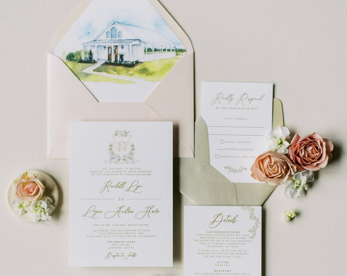 Gold Thermography Wedding Invitation with Custom Water Color Monogram Crest & Wedding Venue Illustration in Blush —Other Colors Available!