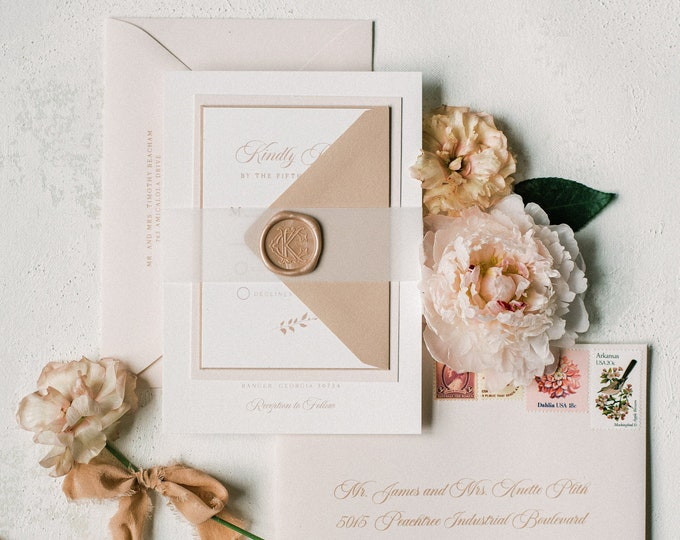 Vintage Monogram Crest Wedding Invitation with Vellum Belly Band and Wax Seal in Pale Pink and Blush —Other Color Options!