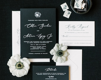 Simple, Minimalist, Modern Black & White Wedding Invitation with Anemone and Calligraphy Script - Different Color Options!