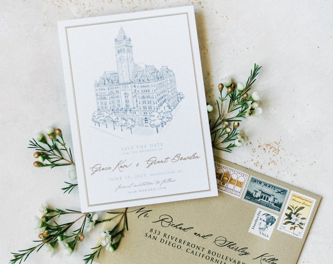 Metallic Gold Thermography Printed Save the Date with Custom Wedding Venue Sketch Illustration + Envelope Addressing —Different Colors!
