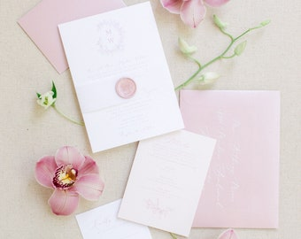 Delicate Floral Wreath Monogrammed Wedding Invitation in Pink Blush with Vellum Band, Wax Seal, RSVP & Guest Addressing