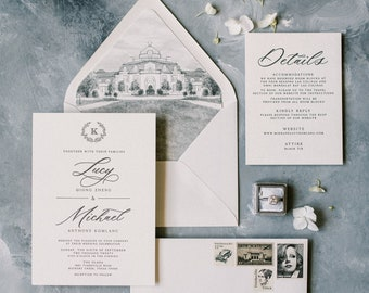 Black Letterpress & White Wedding Invitation with Water Color Wedding Venue Illustration and Simple Greenery Monogram Wreath —Other Colors!