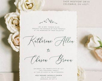Mountain Wedding Invitation with Calligraphy in Earth Tones — Taupe, Almond & Ivory with Details Insert and Guest Addressing — Other Colors